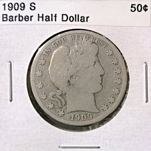 1909 S Barber Half Dollar - 4 Photos!