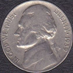 1939 P Jefferson Nickel