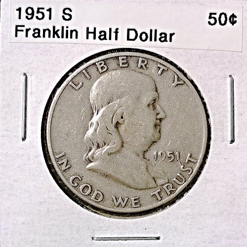 1951 S Franklin Half Dollar