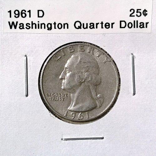 1961 D Washington Quarter Dollar - 4 Photos!
