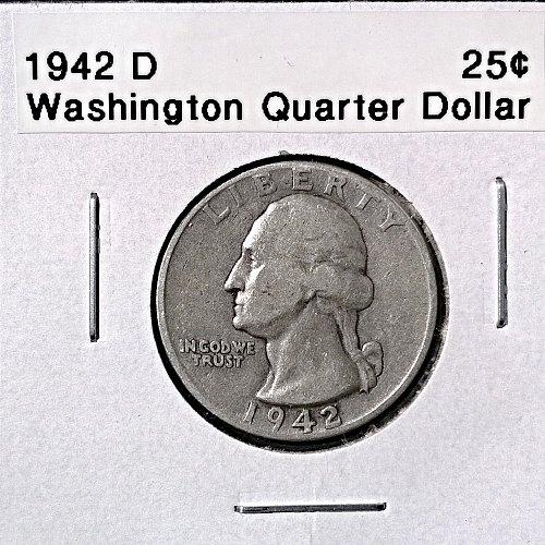 1942 D Washington Quarter Dollar