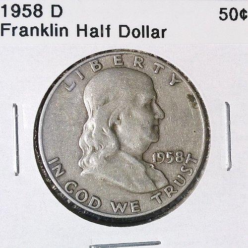 1958 D Franklin Half Dollar