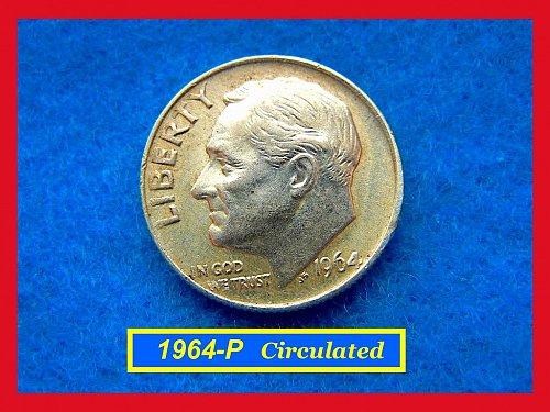 1964-P Roosevelt Dime Circulated   (#3406)