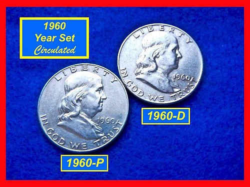 1960-P & D  Franklin Half Dollars ––– 2-COIN Lot    (#1569)