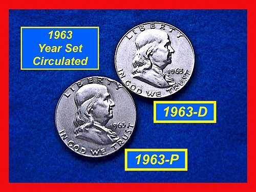 1963-P & 1963-D  Franklin Half Dollars ––– Circulated    (#1528)