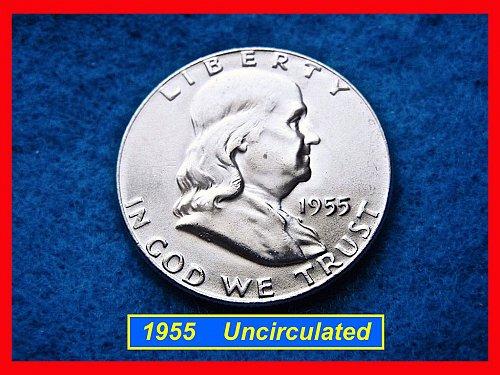 1955-P  Franklin Half Dollar – Dazzling Mint State BU Coin  •• (#1570)