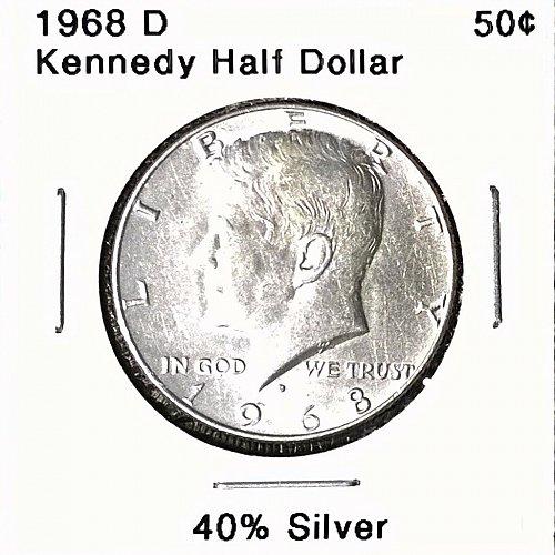 1968 D Kennedy Half Dollar - 4 Photos!