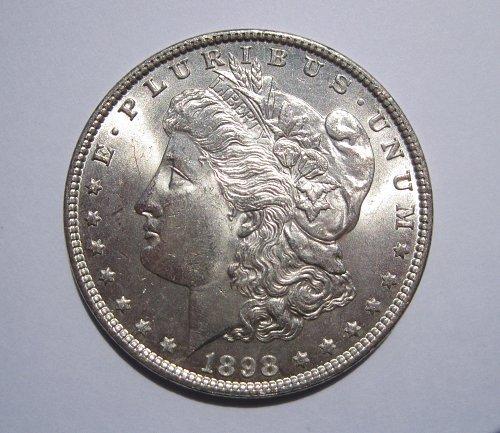 1898 P MORGAN SILVER DOLLAR, NICE BU MS+++, UNCIRCULATED