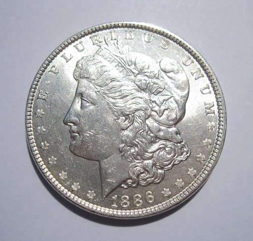 1886 MORGAN SILVER DOLLAR, NICE B.U. MS