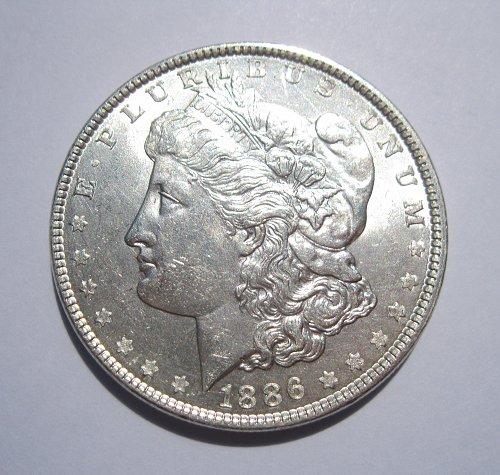 1886 MORGAN SILVER DOLLAR, NICE B.U. MS