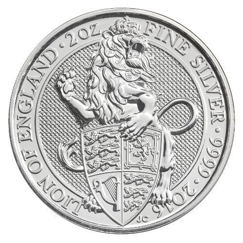 2016 2 oz British Silver Queen's Beast Coin (BU)