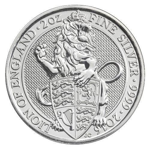 2016 2 oz British Silver Queen's Beast Coin (BU)