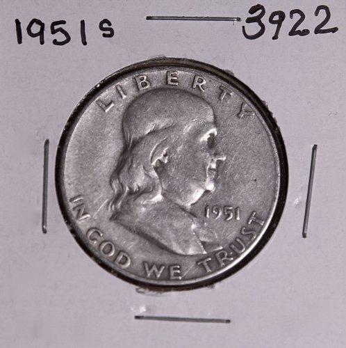 1951 S FRANKLIN HALF DOLLAR #3922