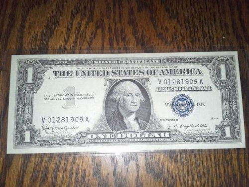 1957 $1 Silver certificate birthday note 01281909 crisp unc