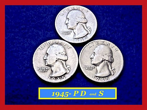 1945-PDS ( 3 COIN SET)  Washington Quarters ⭕️ Circulated    (#2274)