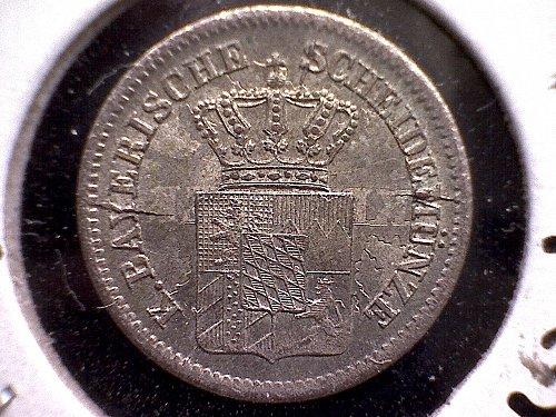 """1871 GERMANY STATES """"BAVARIA"""" ONE KREUZER """"SILVER"""""""