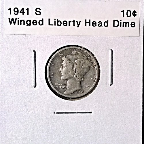 1941 S Winged Liberty Head Dime