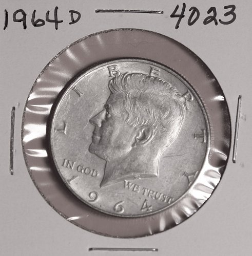 1964 D KENNEDY 90% SILVER HALF DOLLAR #4023 VERY FINE, FREE SHIPPING !