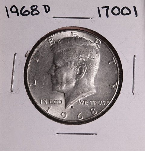 1968 D KENNEDY 40% SILVER HALF DOLLAR  #17001