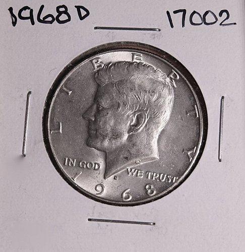 1968 D KENNEDY 40% SILVER HALF DOLLAR  #17002