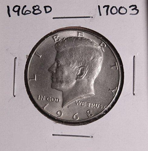 1968 D KENNEDY 40% SILVER HALF DOLLAR  #17003