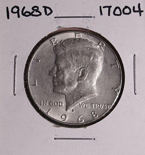 1968 D KENNEDY 40% SILVER HALF DOLLAR  #17004