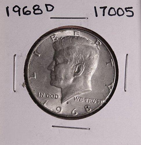 1968 D KENNEDY 40% SILVER HALF DOLLAR  #17005