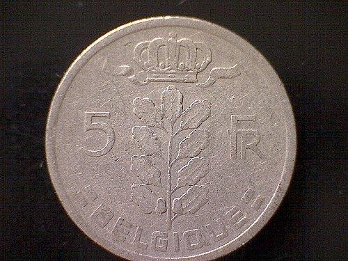 1949 BELGIUM FIVE FRANCS,FIVE FRANK