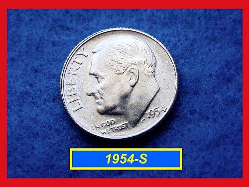 """1954-S  """"AU""""  Roosevelt Dime ••••• (#3302)"""