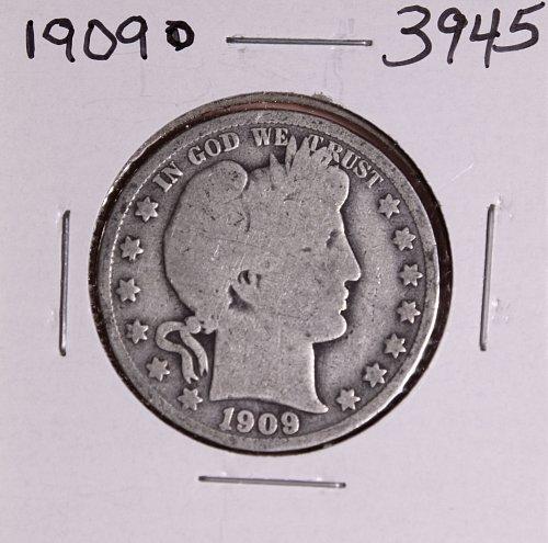 1909 0 BARBER HALF DOLLAR #3945