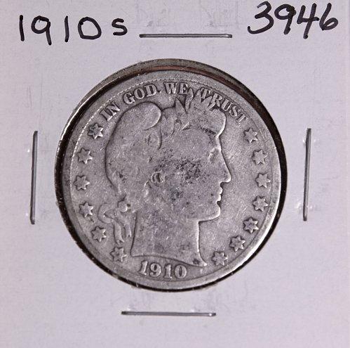 1910 S BARBER HALF DOLLAR #3946