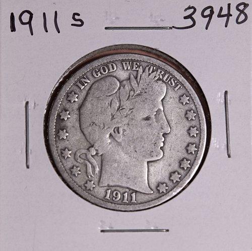 1911 S BARBER HALF DOLLAR #3948