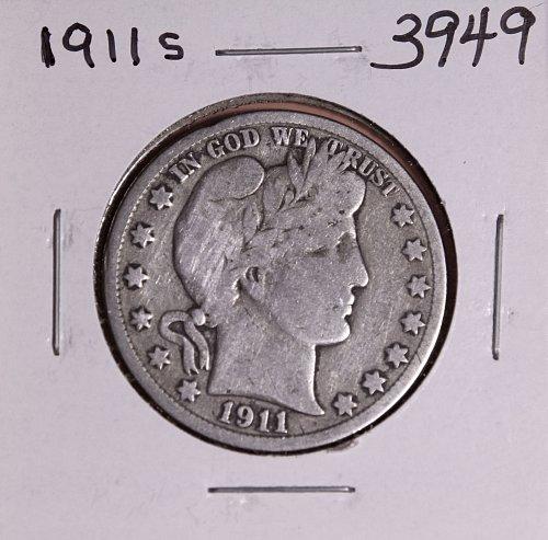 1911 S BARBER HALF DOLLAR #3949
