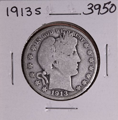 1913 S BARBER HALF DOLLAR #3950