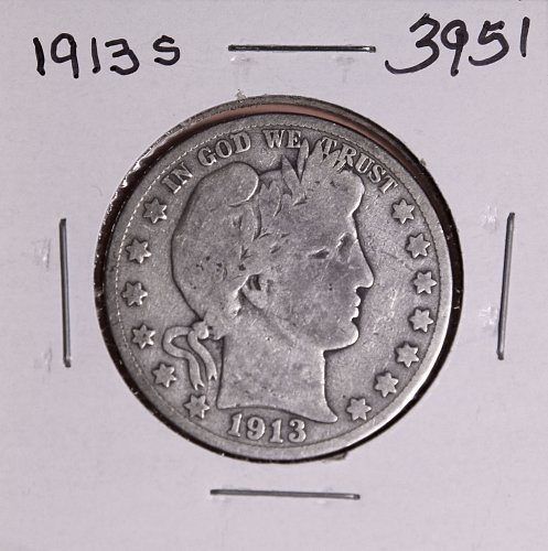 1913 S BARBER HALF DOLLAR #3951