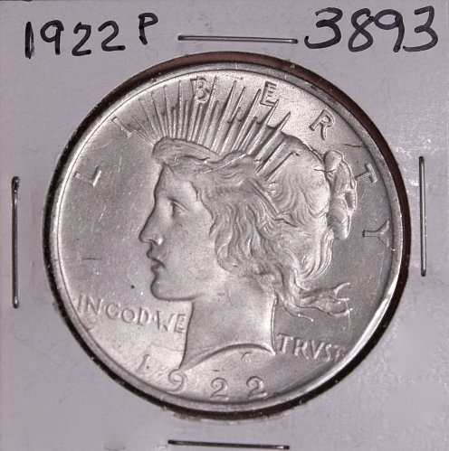 1922 P PEACE SILVER DOLLAR AU+ #3893