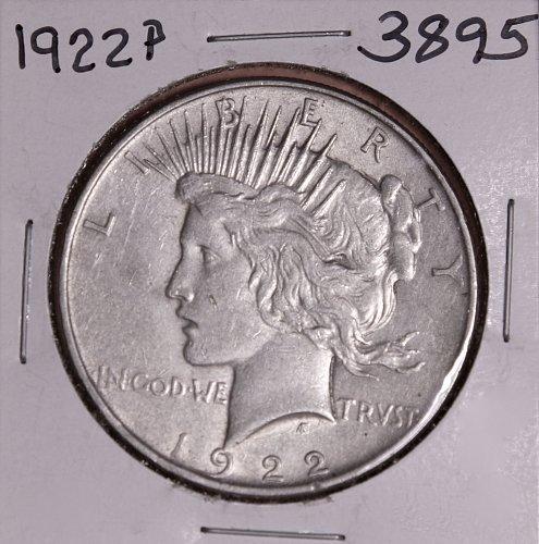 1922 P PEACE SILVER DOLLAR AU+ #3895