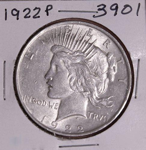 1922 P PEACE SILVER DOLLAR #3901