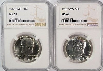 1966 and 1967 SMS KENNEDY HALF DOLLARS, NGC MS-67