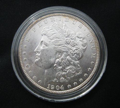 1904-O MORGAN SILVER DOLLAR, NICE B.U. MS