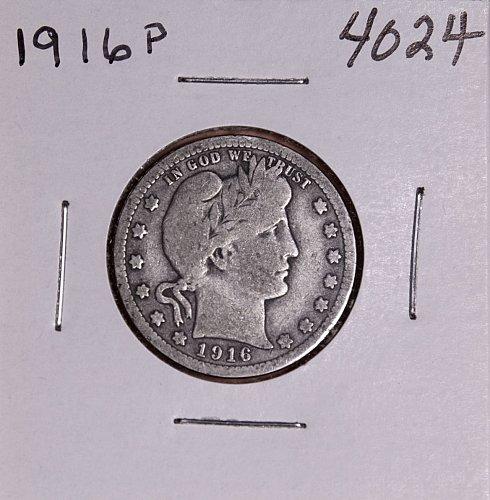 1916 P BARBER QUARTER  #4024