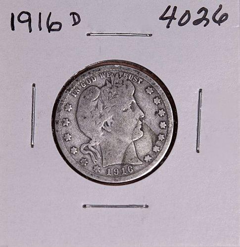 1916 D BARBER QUARTER  #4026