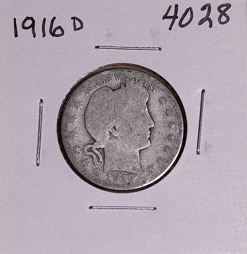 1916 D BARBER QUARTER  #4028