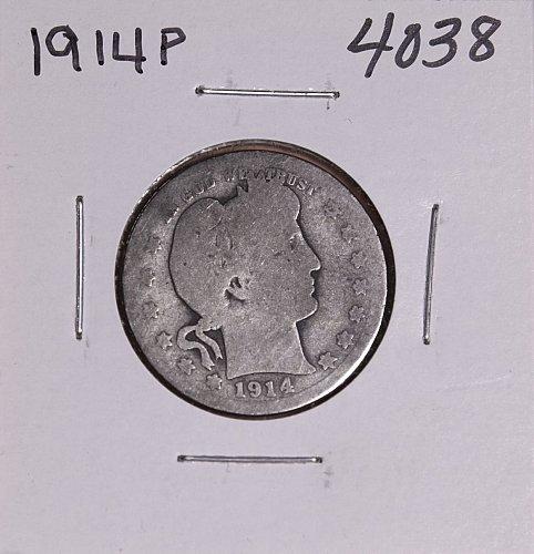 1914 P BARBER QUARTER  #4038