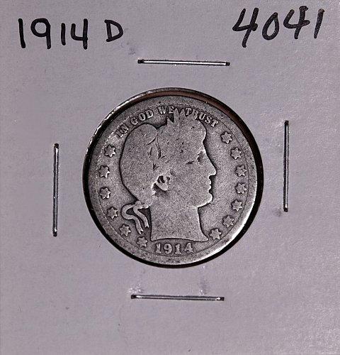 1914 D BARBER QUARTER  #4041