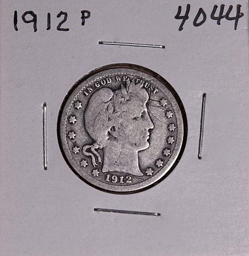 1912 P BARBER QUARTER  #4044