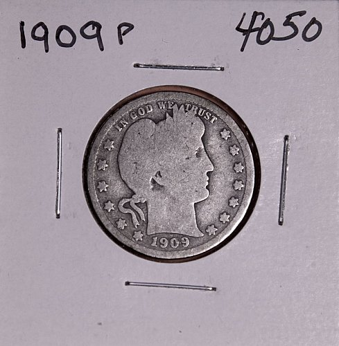 1909 P BARBER QUARTER  #4050