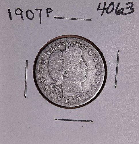 1907 P BARBER QUARTER  #4063