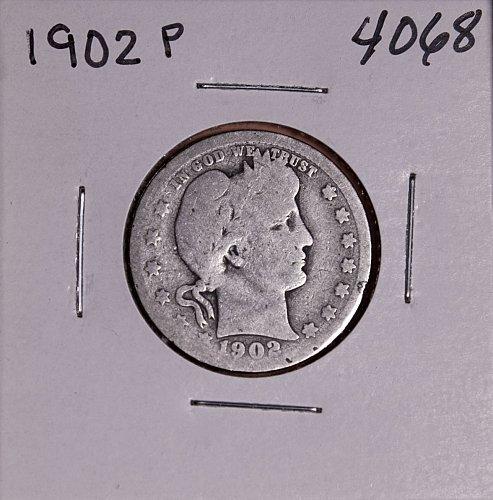 1902 P BARBER QUARTER  #4068