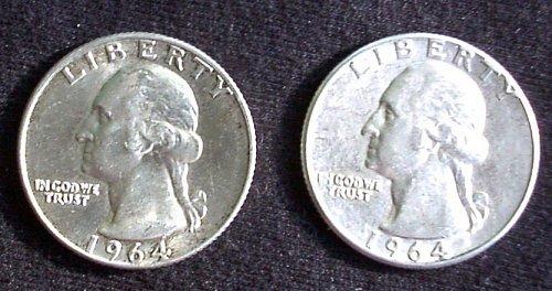 1964 P &D Washington Quarter Pair AU 58+